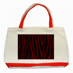 Skin4 Black Marble & Red Wood (r) Classic Tote Bag (red) by trendistuff