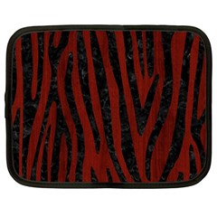 Skin4 Black Marble & Red Wood (r) Netbook Case (large) by trendistuff