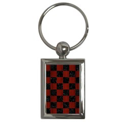 Square1 Black Marble & Red Wood Key Chains (rectangle)  by trendistuff