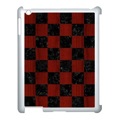 Square1 Black Marble & Red Wood Apple Ipad 3/4 Case (white) by trendistuff