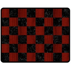 Square1 Black Marble & Red Wood Double Sided Fleece Blanket (medium)  by trendistuff