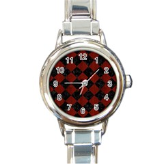 Square2 Black Marble & Red Wood Round Italian Charm Watch by trendistuff