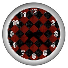 Square2 Black Marble & Red Wood Wall Clocks (silver)  by trendistuff