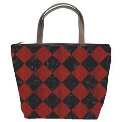 Square2 Black Marble & Red Wood Bucket Bags by trendistuff