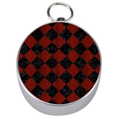 Square2 Black Marble & Red Wood Silver Compasses by trendistuff