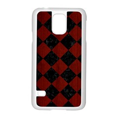 Square2 Black Marble & Red Wood Samsung Galaxy S5 Case (white) by trendistuff