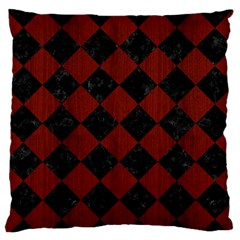 Square2 Black Marble & Red Wood Large Flano Cushion Case (one Side) by trendistuff