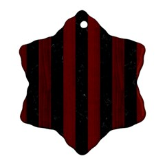 Stripes1 Black Marble & Red Wood Snowflake Ornament (two Sides) by trendistuff