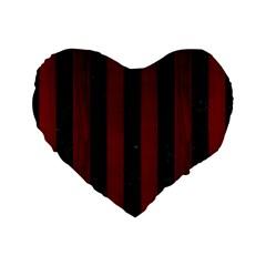 Stripes1 Black Marble & Red Wood Standard 16  Premium Flano Heart Shape Cushions by trendistuff