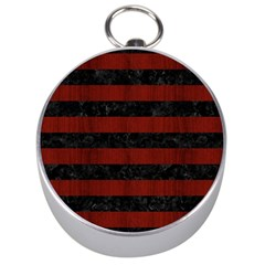Stripes2 Black Marble & Red Wood Silver Compasses by trendistuff