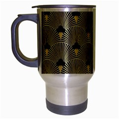Art Deco Fan Pattern Travel Mug (silver Gray) by 8fugoso