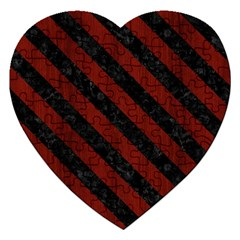 Stripes3 Black Marble & Red Wood Jigsaw Puzzle (heart) by trendistuff