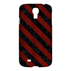 Stripes3 Black Marble & Red Wood Samsung Galaxy S4 I9500/i9505 Hardshell Case by trendistuff