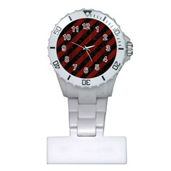 Stripes3 Black Marble & Red Wood (r) Plastic Nurses Watch by trendistuff