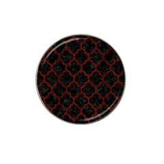 Tile1 Black Marble & Red Wood (r) Hat Clip Ball Marker (4 Pack) by trendistuff