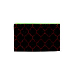 Tile1 Black Marble & Red Wood (r) Cosmetic Bag (xs) by trendistuff