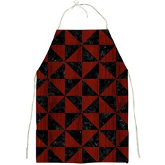 Triangle1 Black Marble & Red Wood Full Print Aprons by trendistuff