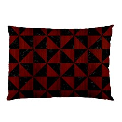 Triangle1 Black Marble & Red Wood Pillow Case (two Sides) by trendistuff