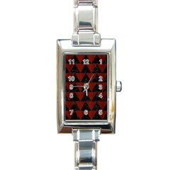 Triangle2 Black Marble & Red Wood Rectangle Italian Charm Watch