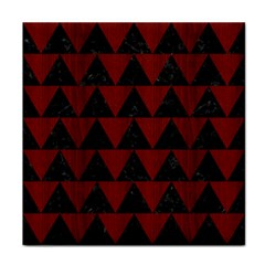 Triangle2 Black Marble & Red Wood Tile Coasters by trendistuff