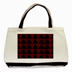Triangle2 Black Marble & Red Wood Basic Tote Bag by trendistuff