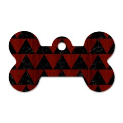 Triangle2 Black Marble & Red Wood Dog Tag Bone (two Sides) by trendistuff