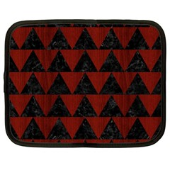 Triangle2 Black Marble & Red Wood Netbook Case (large) by trendistuff