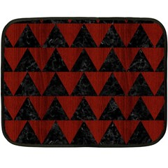 Triangle2 Black Marble & Red Wood Fleece Blanket (mini) by trendistuff