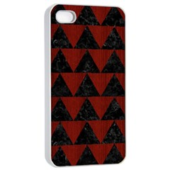 Triangle2 Black Marble & Red Wood Apple Iphone 4/4s Seamless Case (white) by trendistuff
