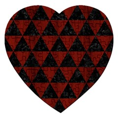 Triangle3 Black Marble & Red Wood Jigsaw Puzzle (heart) by trendistuff