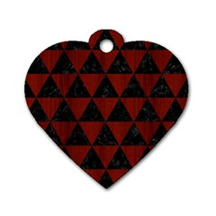 Triangle3 Black Marble & Red Wood Dog Tag Heart (one Side)