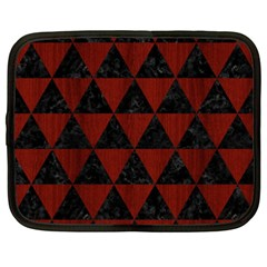 Triangle3 Black Marble & Red Wood Netbook Case (xxl)  by trendistuff