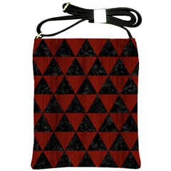 Triangle3 Black Marble & Red Wood Shoulder Sling Bags by trendistuff