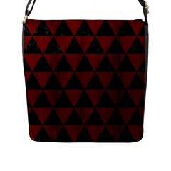 Triangle3 Black Marble & Red Wood Flap Messenger Bag (l)  by trendistuff