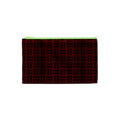 Woven1 Black Marble & Red Wood Cosmetic Bag (xs) by trendistuff