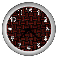 Woven1 Black Marble & Red Wood (r) Wall Clocks (silver)  by trendistuff