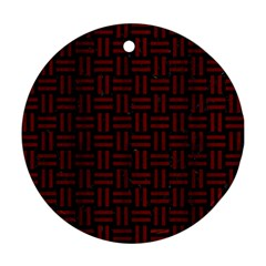 Woven1 Black Marble & Red Wood (r) Round Ornament (two Sides) by trendistuff