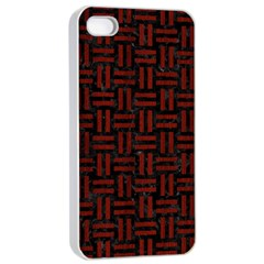 Woven1 Black Marble & Red Wood (r) Apple Iphone 4/4s Seamless Case (white) by trendistuff