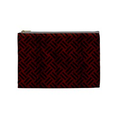 Woven2 Black Marble & Red Wood Cosmetic Bag (medium)  by trendistuff