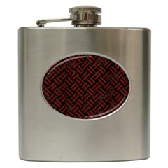 Woven2 Black Marble & Red Wood (r) Hip Flask (6 Oz) by trendistuff