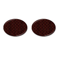 Woven2 Black Marble & Red Wood (r) Cufflinks (oval) by trendistuff