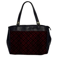 Woven2 Black Marble & Red Wood (r) Office Handbags by trendistuff