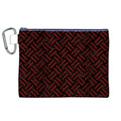 Woven2 Black Marble & Red Wood (r) Canvas Cosmetic Bag (xl) by trendistuff