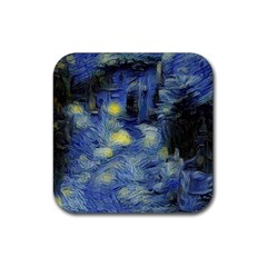 Van Gogh Inspired Rubber Square Coaster (4 Pack)  by 8fugoso