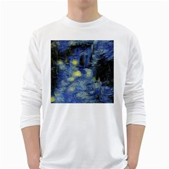 Van Gogh Inspired White Long Sleeve T Shirts by 8fugoso