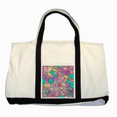 Mosaic Linda 3 Two Tone Tote Bag by MoreColorsinLife