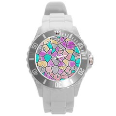 Mosaic Linda 3 Round Plastic Sport Watch (l) by MoreColorsinLife