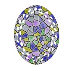 Mosaic Linda 5 Ornament (oval Filigree) by MoreColorsinLife