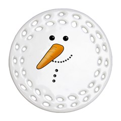 Cute Snowman Round Filigree Ornament (two Sides) by Valentinaart
