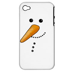Cute Snowman Apple Iphone 4/4s Hardshell Case (pc+silicone) by Valentinaart